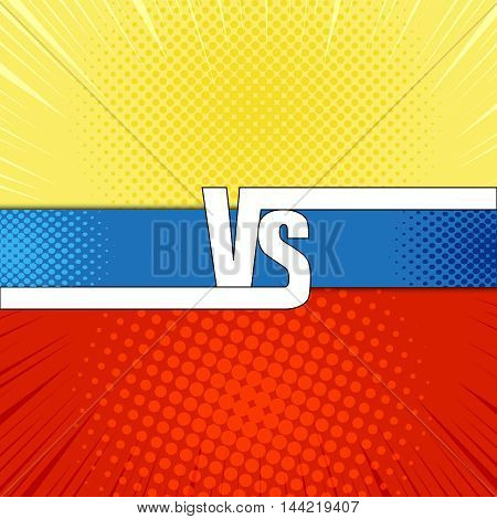 Comic fight template. Cartoon background with opposite sides. Representation of two confrontate warriors. Illustration of versus lettering. Pop-art style