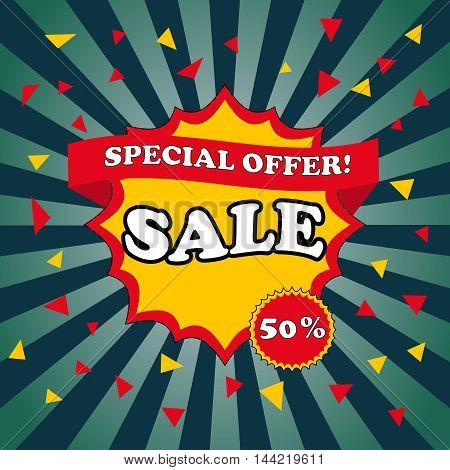Sale banner template and special offer poster. Pop-art style. 50 percent discount. Radial comic background