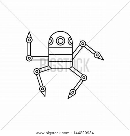 Robot spider icon in outline style isolated on white background