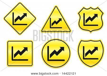 Chart Icon on Yellow Designs Original Illustration