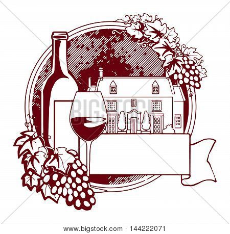 Abstract label with Grape vines around a round stamp, traditional vintage wine label, with old farm house inside, bottle of wine and glass, isolated on white, vector illustration
