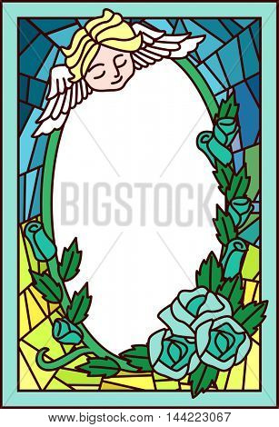 Stained Glass Illustration Featuring a Cherub Hovering Over a Patch of Roses poster