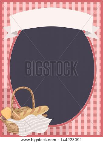 Illustration Featuring a Gingham Frame with a Bread Basket Beside It
