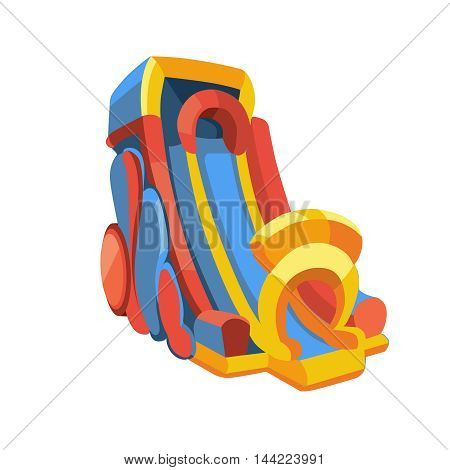 Vector illustration of big inflatable slides isolate on white background. Picture in modern flat style