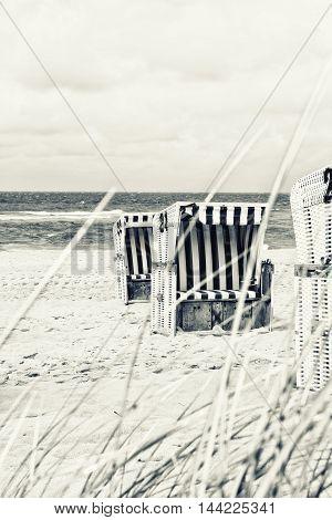 beach chair on the north sea vintage