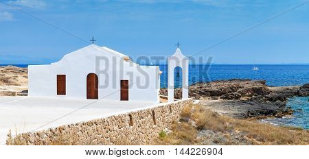 Agios Nikolaos. Small White Orthodox Church