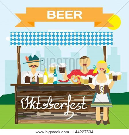 Oktoberfest german man in national costume. Men drink beer out of large mugs. Girl waitress with a beer mugs. Vector flat cartoon illustration
