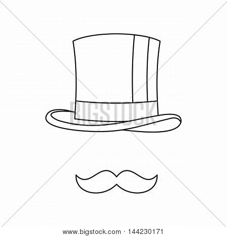 Cylinder and moustaches icon in outline style isolated on white background. Headgear symbol