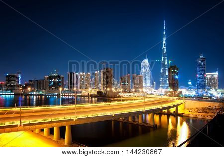 Fascinating Reflection Of Tallest Skyscrapers In Business Bay District During Calm Night With Amazin