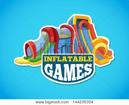 Vector illustration of color emblem with inflatable slides on playground. Advertise label with place for your text. Picture isolate on blue background