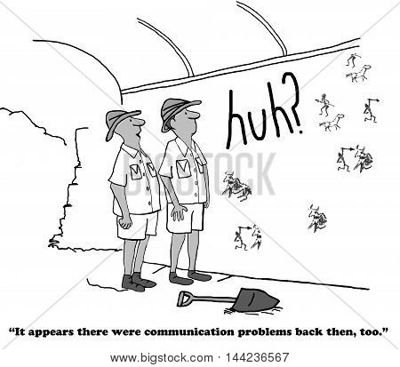 Business cartoon showing that clarity in communication has been a problem throughout the ages.