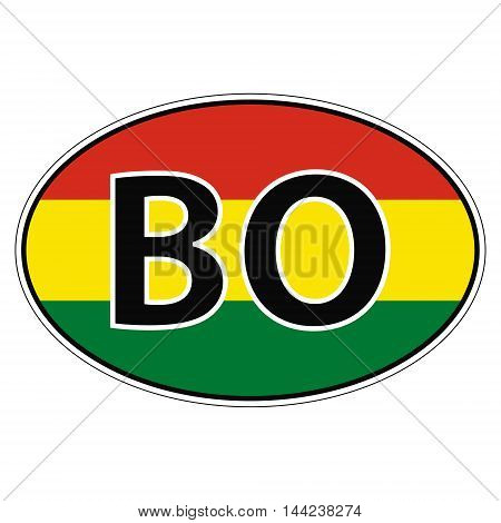 Sticker on car, flag Bolivia the inscription BO vector for print or website design for language buttons