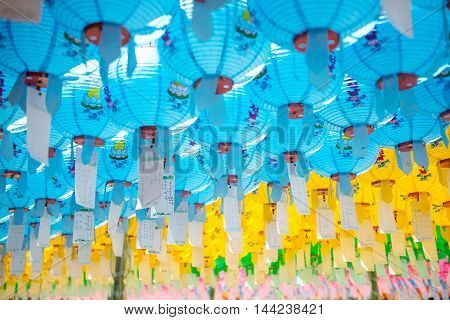 Gyeongju, South Korea - August 18, 2016 : Hundreds Of Lanterns Hanging Out Of The Bulguksa Temple In