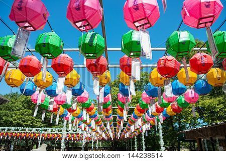 Gyeongju, South Korea - August 18, 2016: Hundreds Of Lanterns Hanging Out Of The Bunhwangsa Temple I