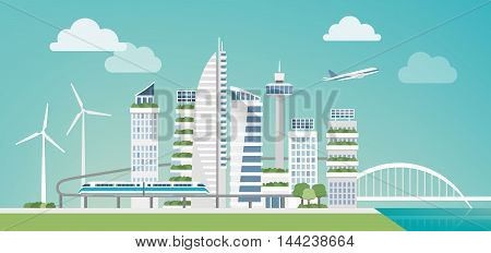 Futuristic green city with wind turbines skyscrapers and monorail sustainability and innovation concept