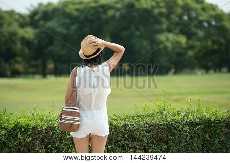 Female traveler enjoying visit Gyeongju in South Korea. Young woman living active life