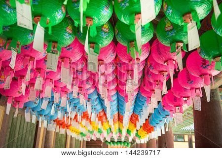 Gyeongju, South Korea - August 18, 2016 :hundreds Of Lanterns Hanging Out Of The Bulguksa Temple In