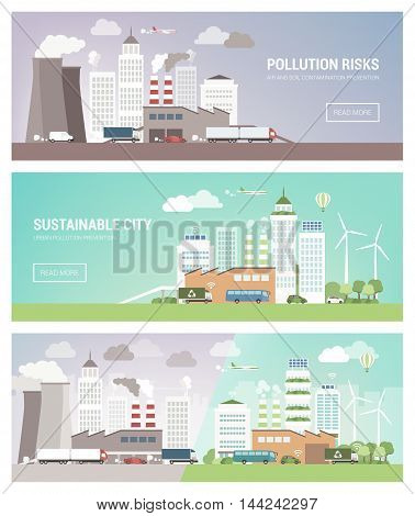 Clean and polluted city banners set environmental care and urban sustainability concept