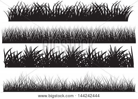 Grass vector black set environment lawn length foliage lush panorama