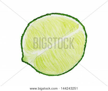 Half Of Lime Isolated On White Background. Watercolor Illustration.