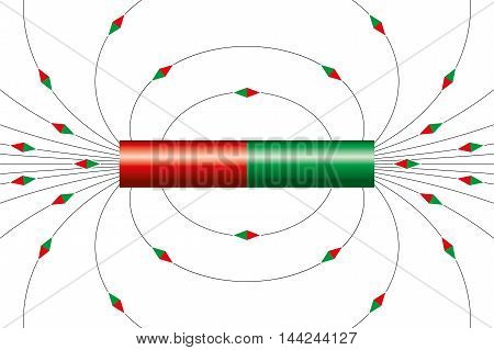 Magnetic field lines of bar magnet. The little magnet needle symbols are showing the direction of the field around the cylindrical magnet at different points. Illustration on white background.