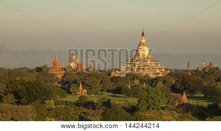 Ancient buddhist temples of Bagan at sunrise
