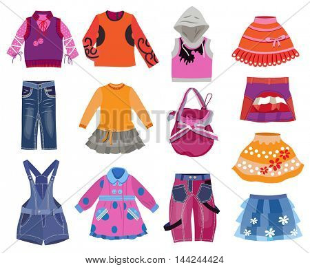 collection of children's clothes isolated on white background (vector illustration)