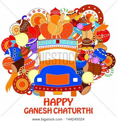 easy to edit vector illustration of Happy Ganesh Chaturthi background