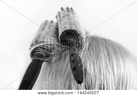 Two hairbrushes in blond long hair isolated on white