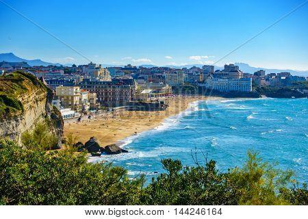 Biarritz Grande Plage (beach) in summer, France
