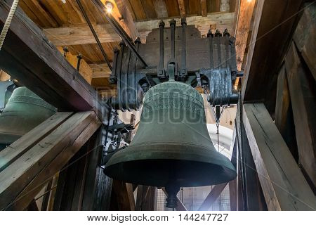 Copenhagen, Denmark - August 15, 2016: The bell inside the tower of Vor Frue Cathedral