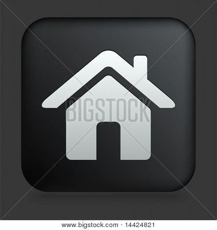 House Icon on Square Black Internet Button Original Illustration