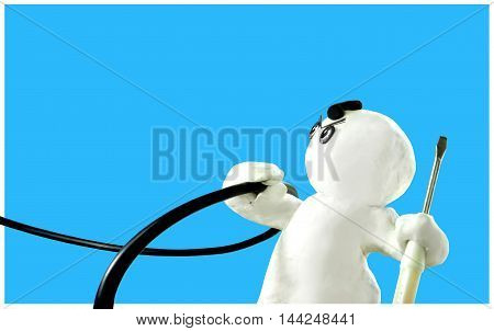 Electricity Repair Man Sculpture isolate and clipping path on Blue Clay Floating Sculpture Acting Design of work good job