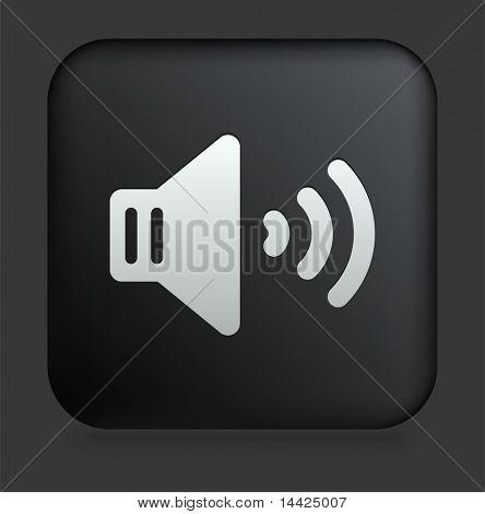 Speaker Icon on Square Black Internet Button Original Illustration