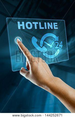 a woman finger call a hotline on a digital screen