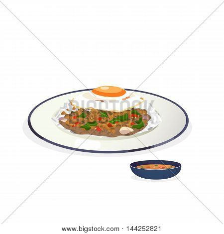 vector of rice topped with stir-fried pork and basil with fried egg.
