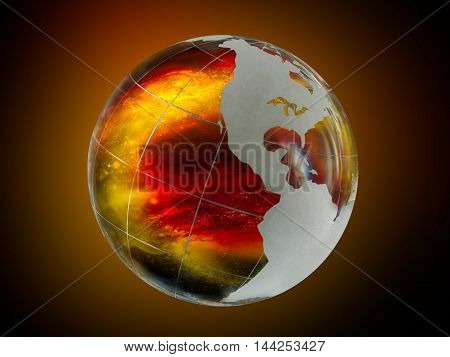 Large luminous ball - the planet earth. Within the scope of the fire lava volcano or explosion
