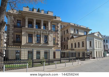 MOSCOW, RUSSIA - APRIL, 12 2016: Modern luxury real estate club house 2nd Zachatievsky Pereulok 11 designed in the style of neoclassicism