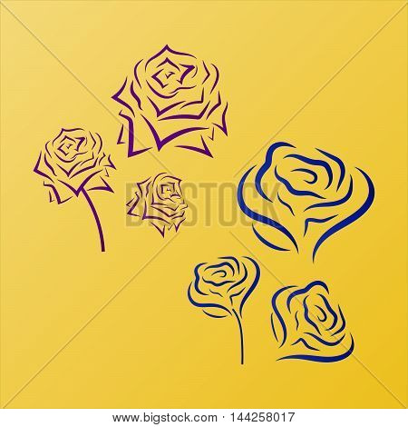 Flower icon. Rose vector. Romantic silhouettes of roses.