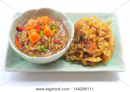 Naam Prik Long Rau , chilli dip with pork and egg yolk ,Thai Cuisine