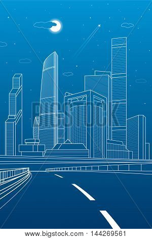 Highway. Business center, architecture and urban illustration, neon city, white lines composition, skyscrapers and towers, vector design art