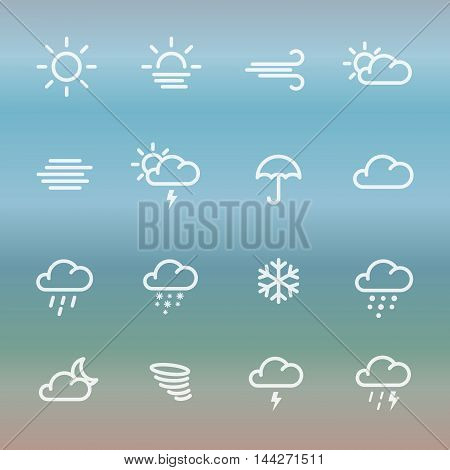 Lines weather forcast Icon set on gradient. Simple vector symbols.