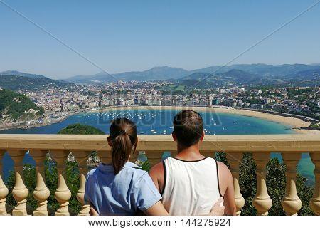 La Concha Beach from Igeldo Mount. Donostia-San Sebastian. Basque Country. Gipuzkoa. SPAIN.