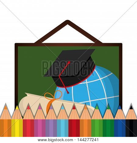 graduation cap global colors back to shool education  icon set. Colorful and flat design. Vector illustration