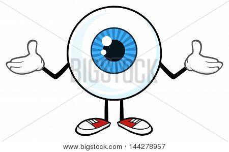 Blue Eyeball Guy Cartoon Mascot Character Shrugging. Illustration Isolated On White Background