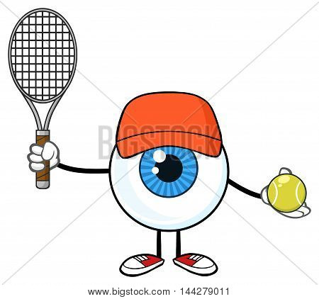Blue Eyeball Guy Cartoon Mascot Character Holding A Tennis Ball And Racket
