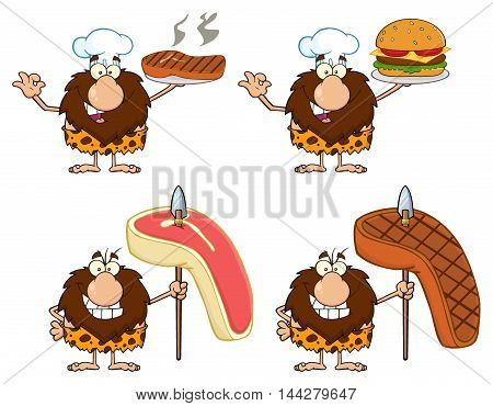 Funny Male Caveman Cartoon Mascot Character 4. Collection Set