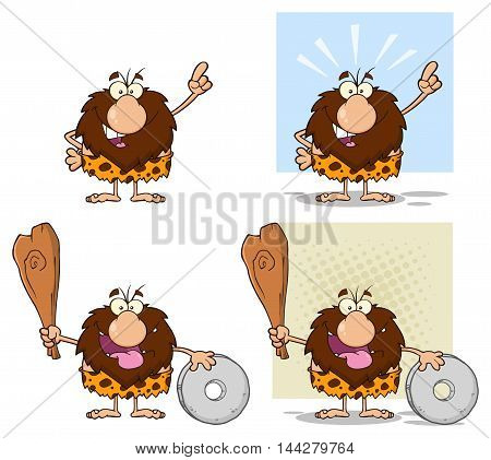 Funny Male Caveman Cartoon Mascot Character 11. Collection Set
