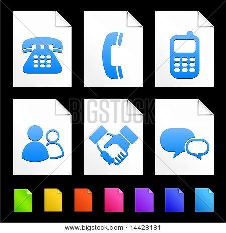 Iconos de la comunicación en la ilustración Original de colección de documento de papel colorido