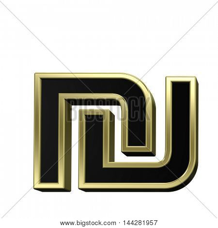 Sheqel sign from black with shiny gold frame alphabet set, isolated on white. 3D illustration.
